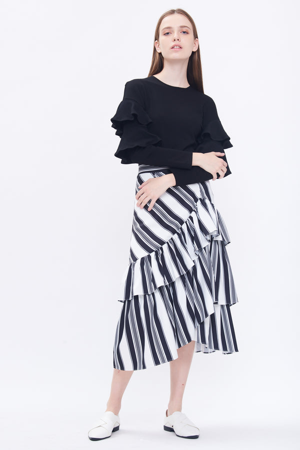 Ruffle Midi Skirt In Stripes