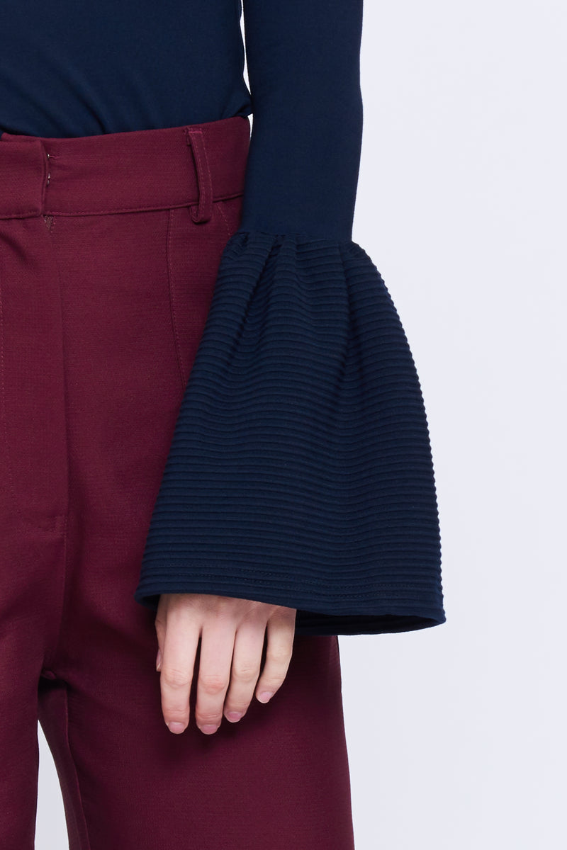 Textured Bell Sleeve Top In Navy