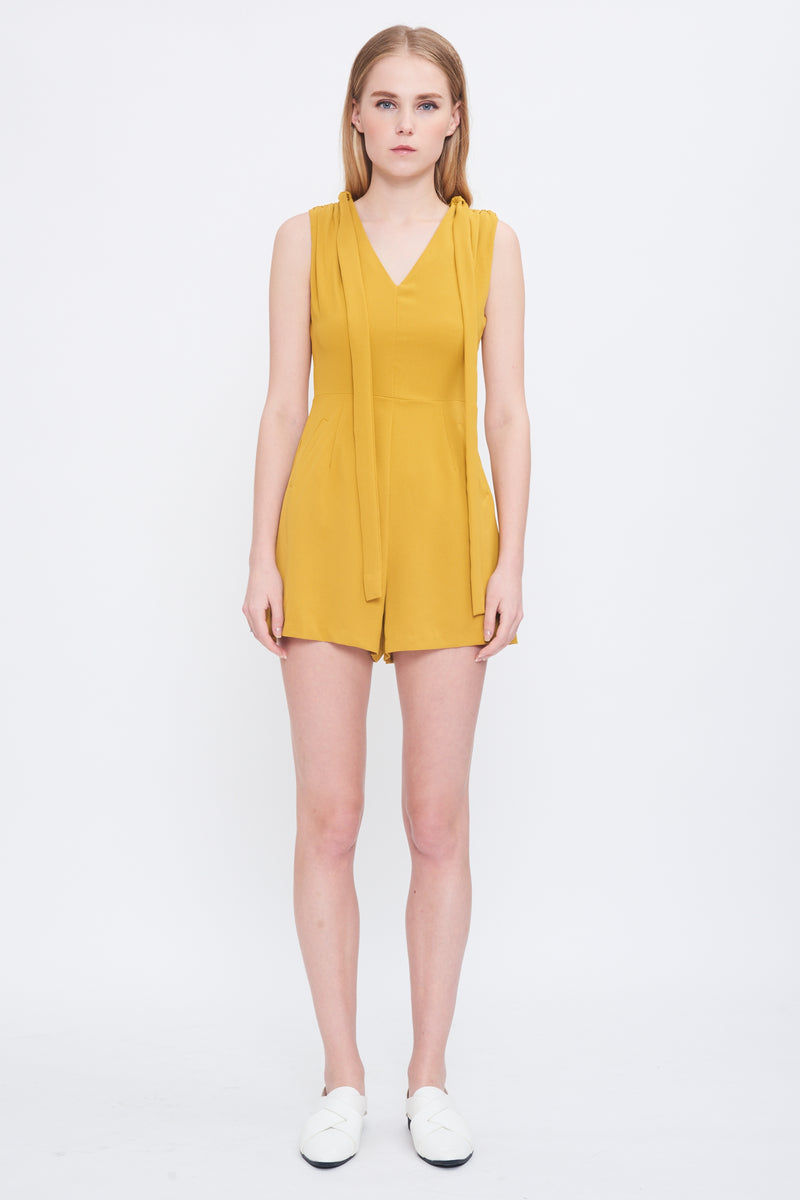 Shoulder Tie Playsuit In Mustard