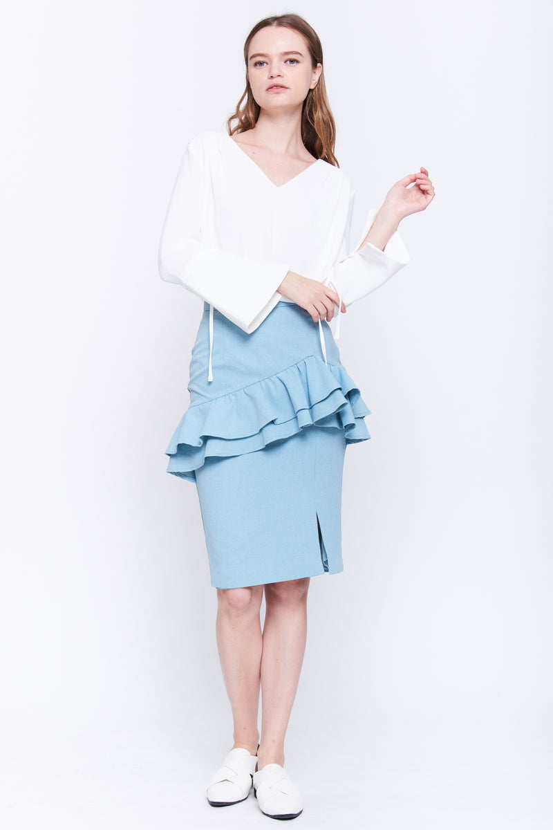 Ruffle Pencil Skirt In Blue