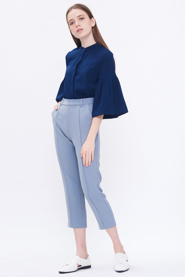 Bell Sleeve Shirt In Blue