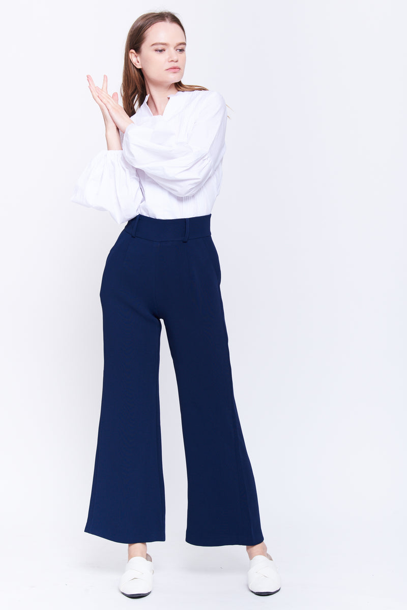 Classic Wide Leg Trousers In Navy
