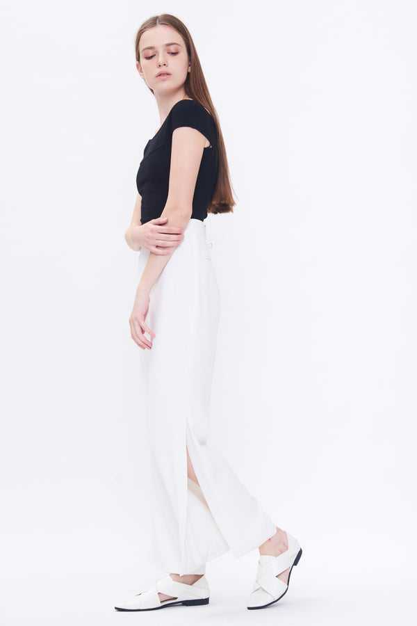 Side Slit Straight Leg Trousers In White