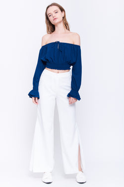 Ruffle Cuff Crop Top In Navy