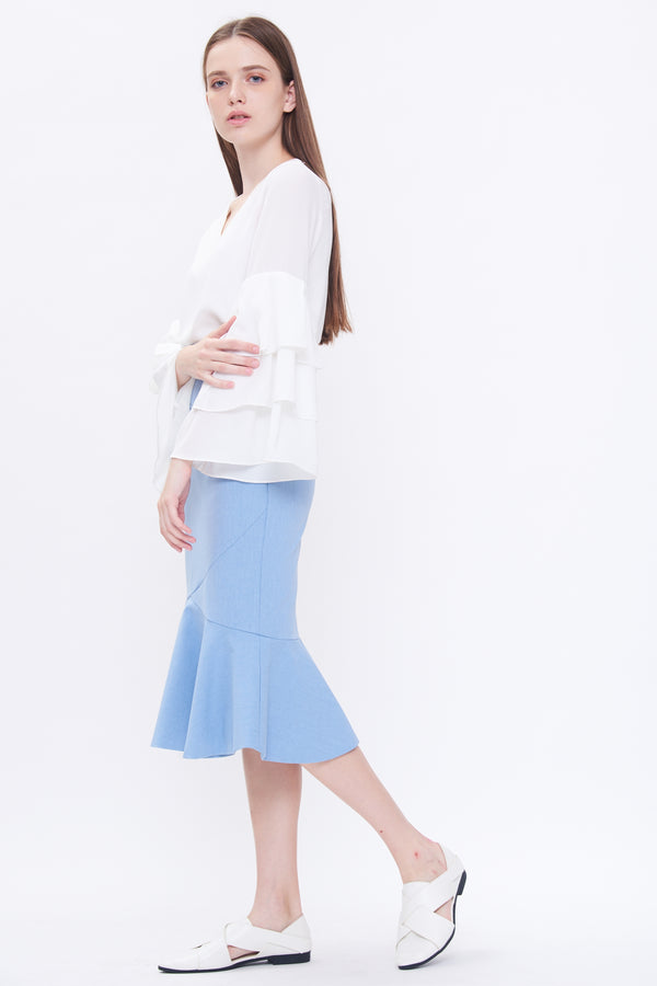 Mermaid Cut Midi Skirt In Sky Blue