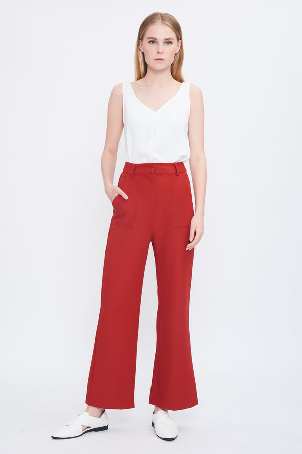 Bootcut Trousers In Tangerine