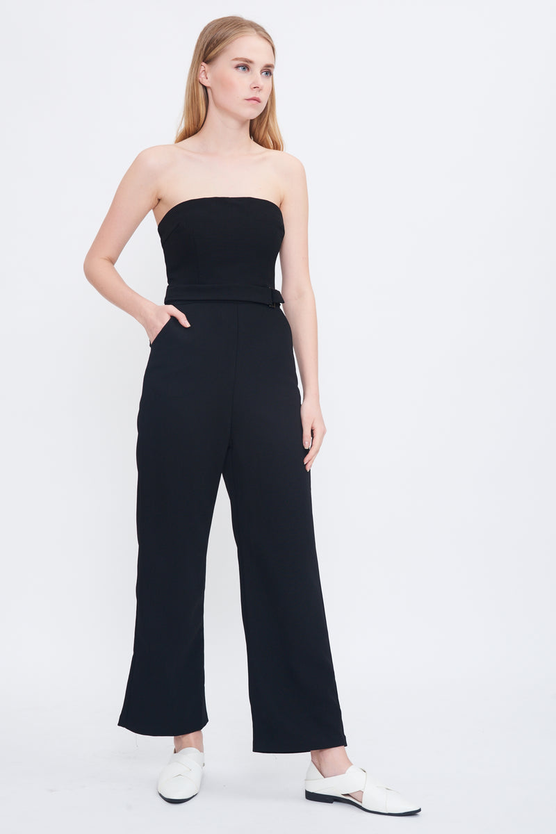 Belted Tube Jumpsuit In Black