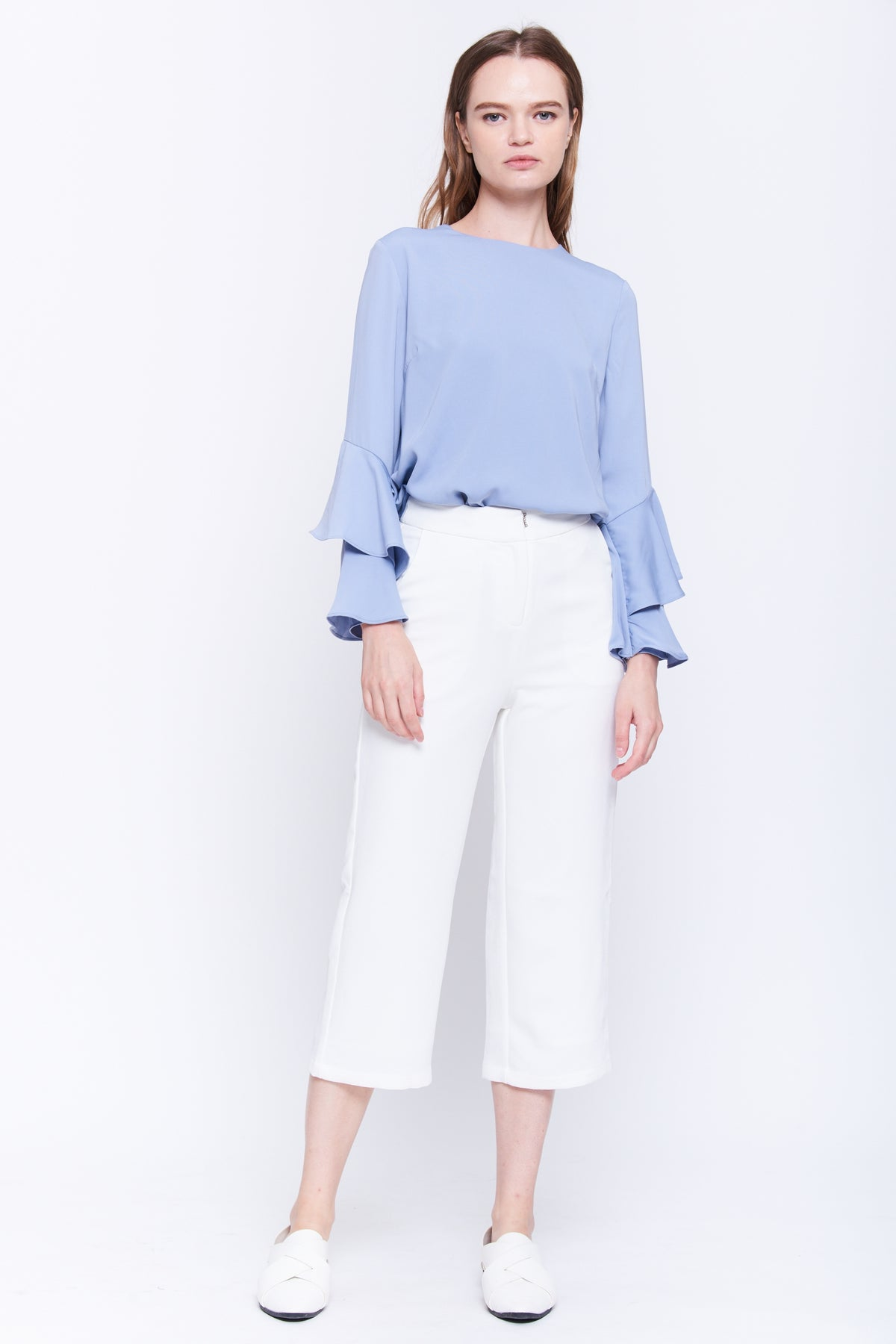 Ruffle Sleeve Blouse In Cornflower Blue