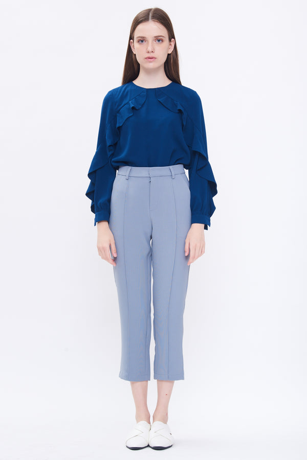 Diagonal Ruffle Top In Blue