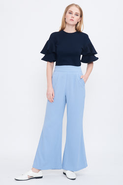 High Waist Flare Trousers In Sky Blue