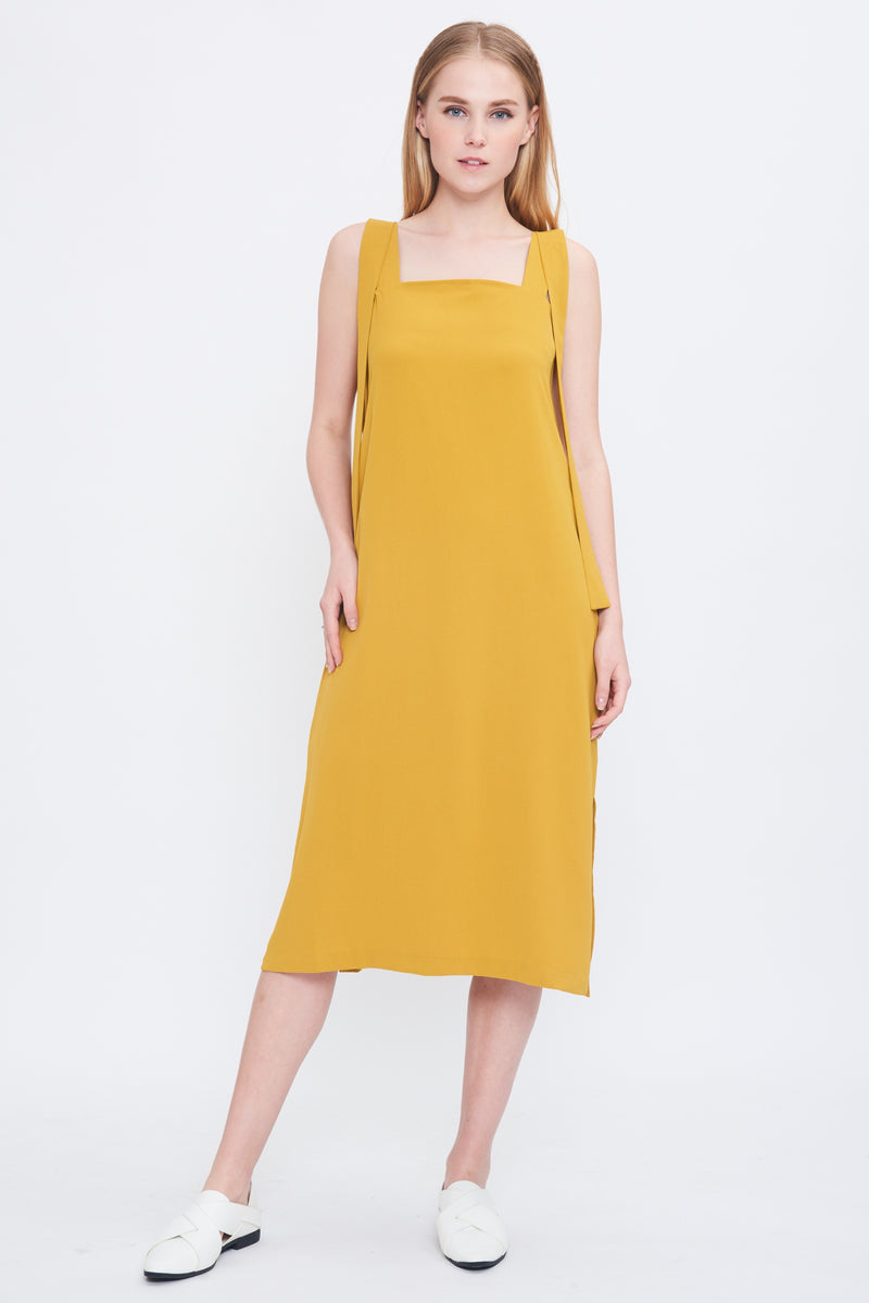 Tie Shoulder Midi Dress In Mustard
