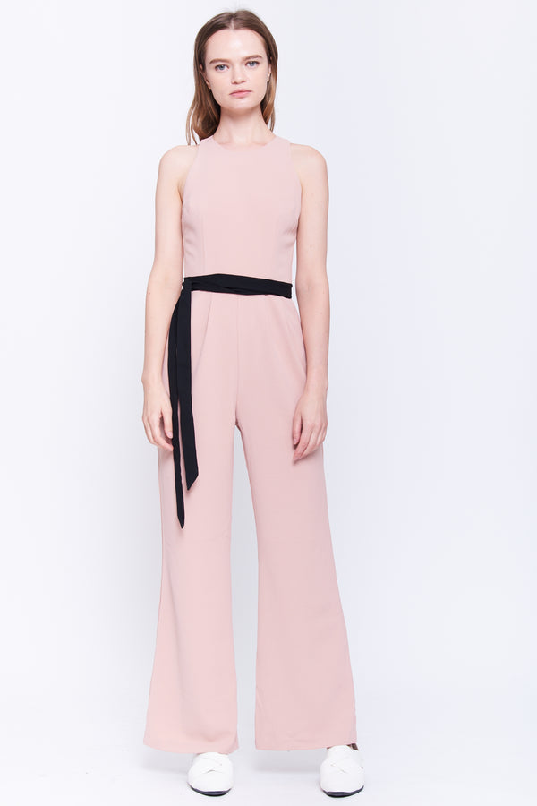 Wide Leg Jumpsuit In Blush