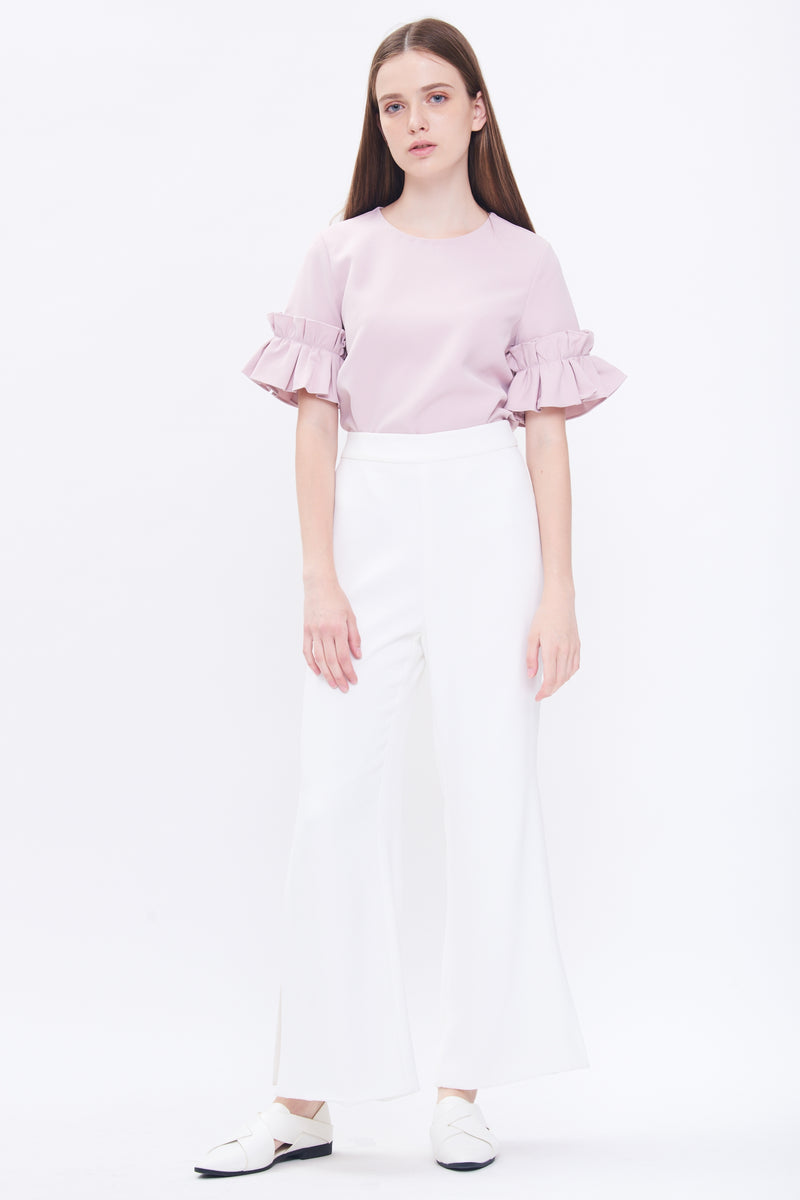 Box Pleat Sleeve Top In Pink