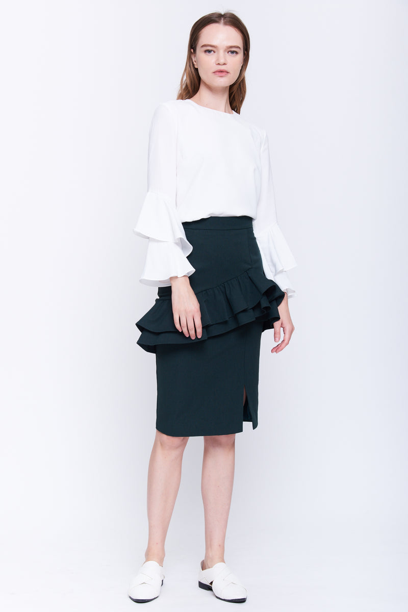 Ruffle Pencil Skirt In Forest Green