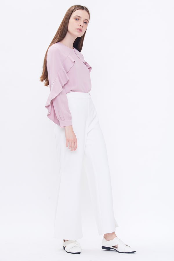 Diagonal Ruffle Top In Blush