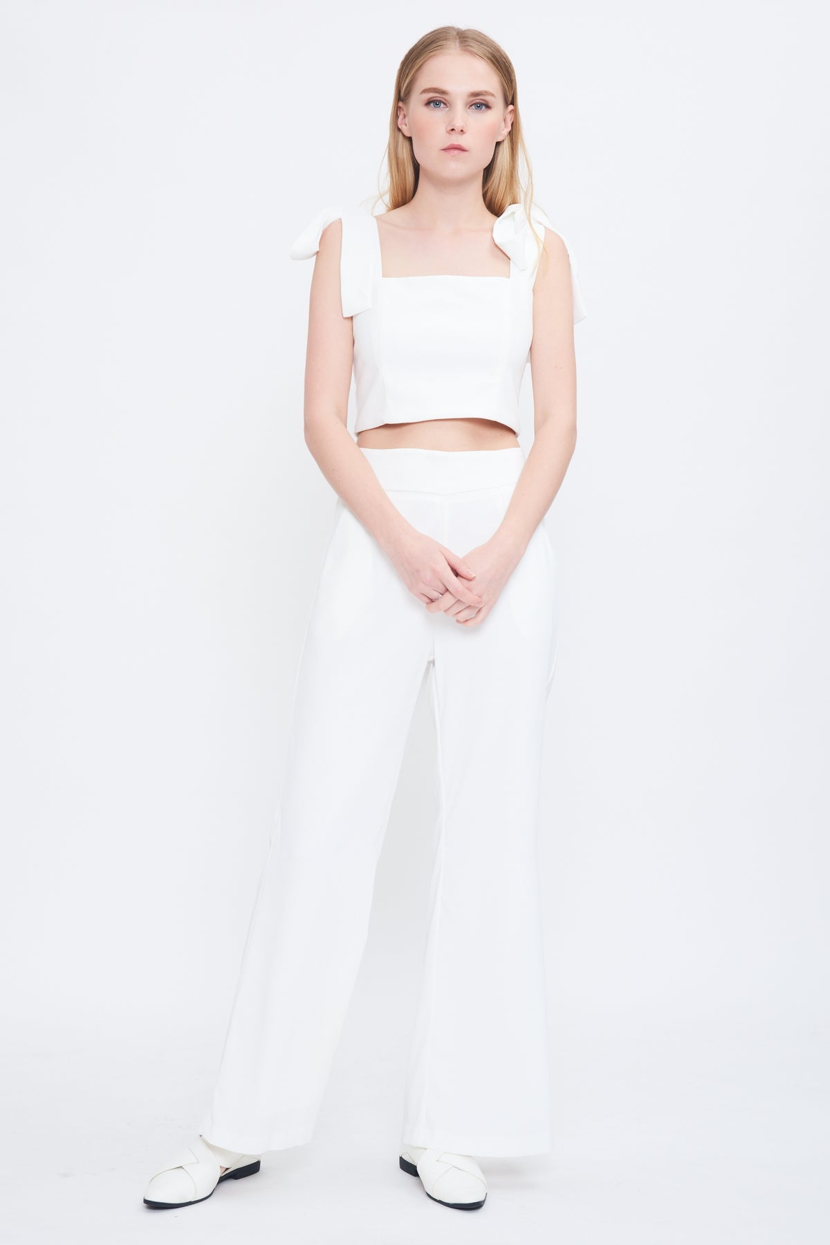 High Waist Flare Trousers In White