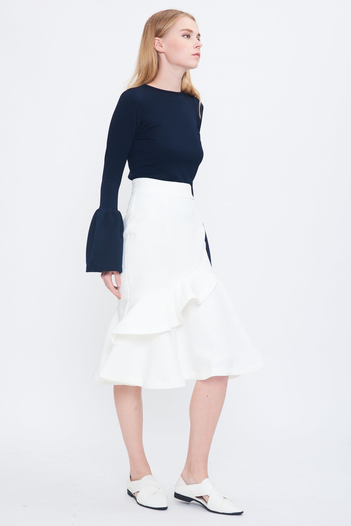Cross Frill Skirt In White