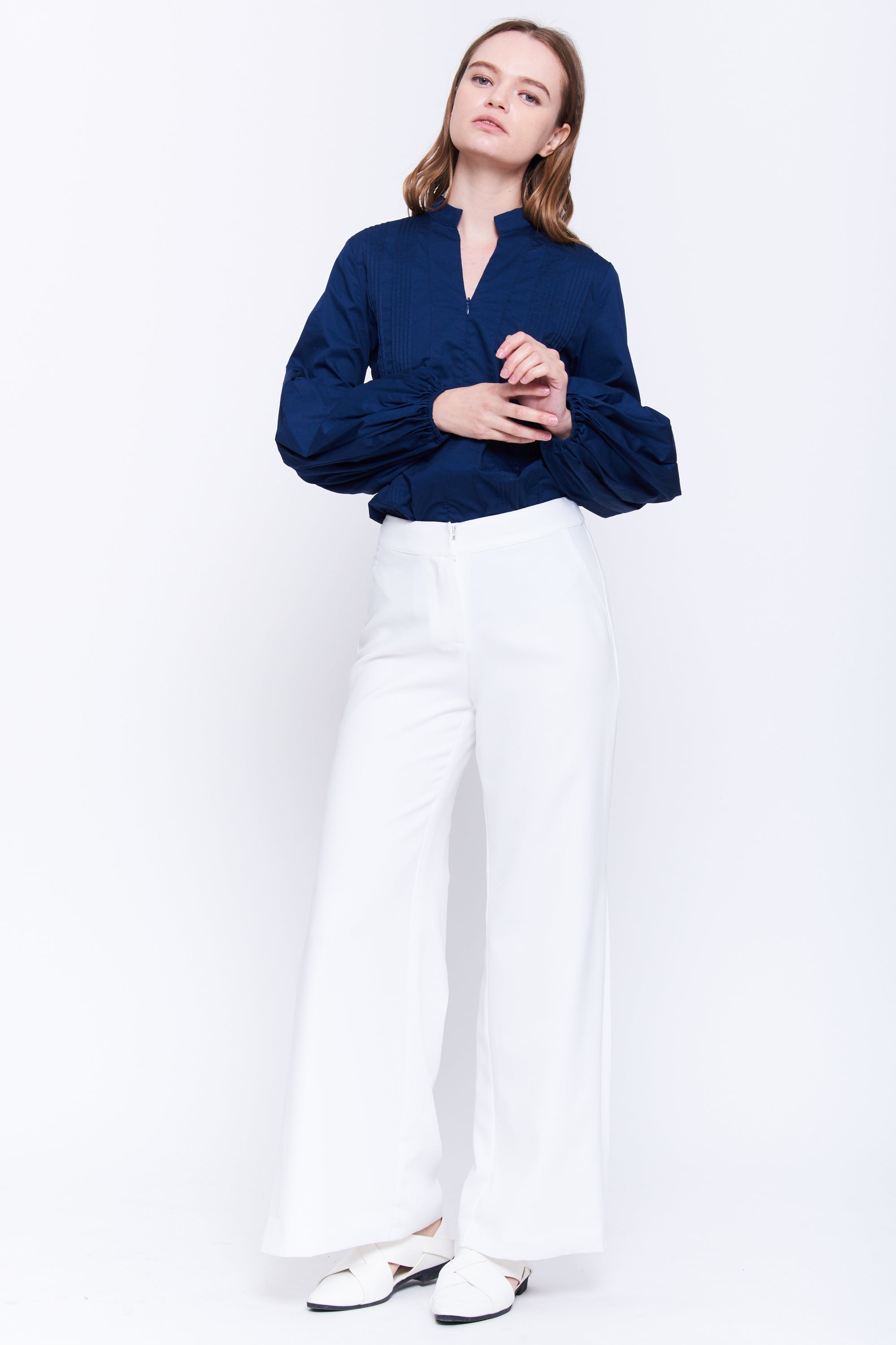 Pleat Front Cotton Blouse In Navy