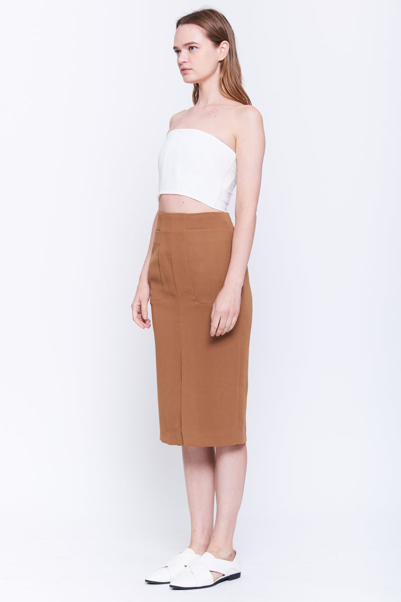 Front Slit Pencil Skirt In Camel