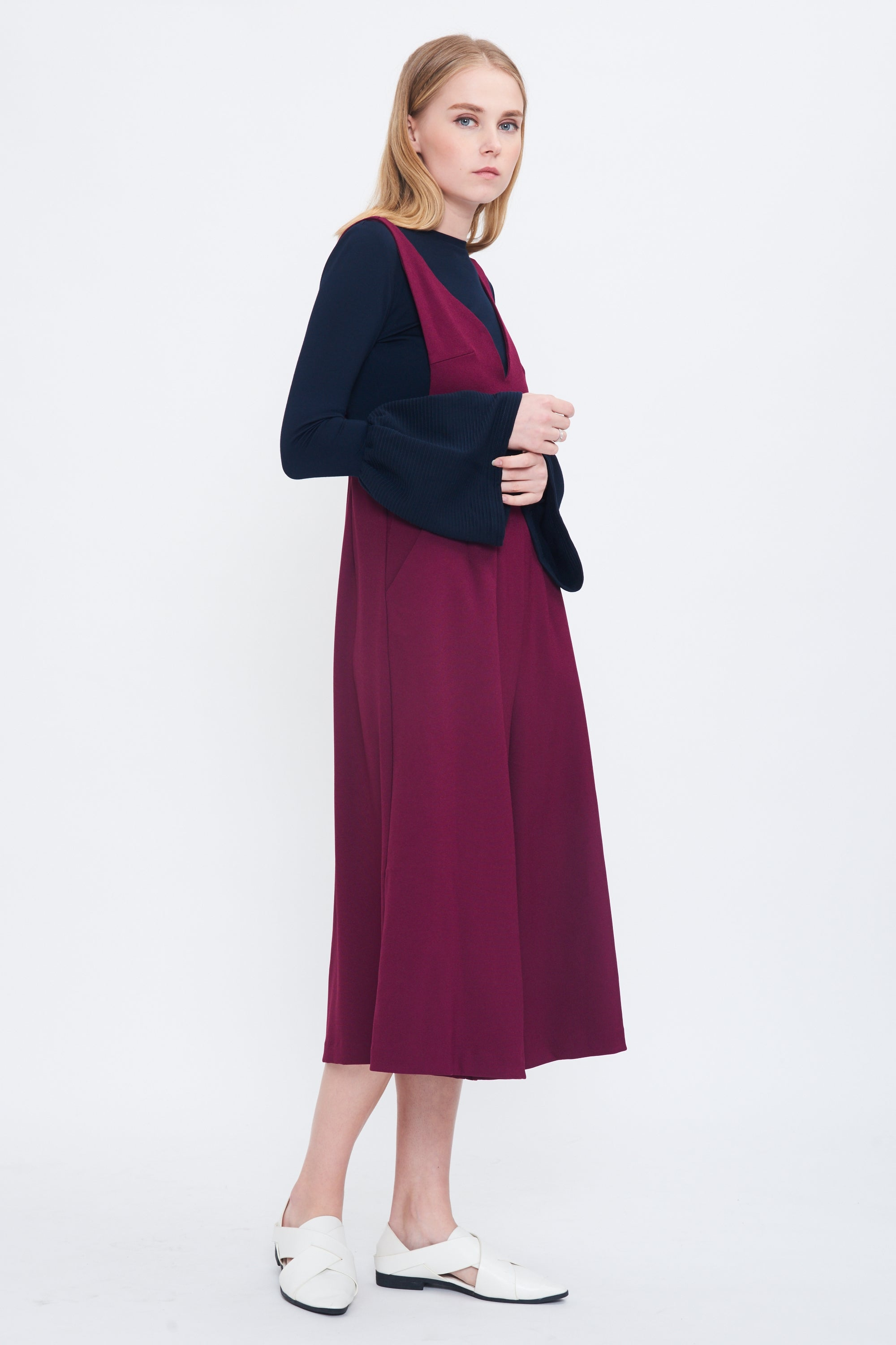 Bareback Culotte Jumpsuit In Berry