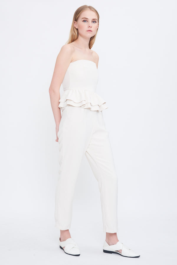 Peplum Tube Jumpsuit In Cream