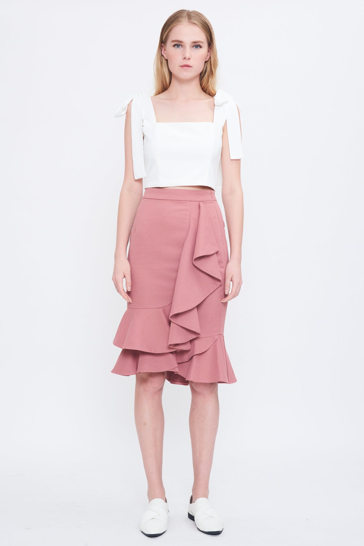 Ruffle Drape Skirt In Blush