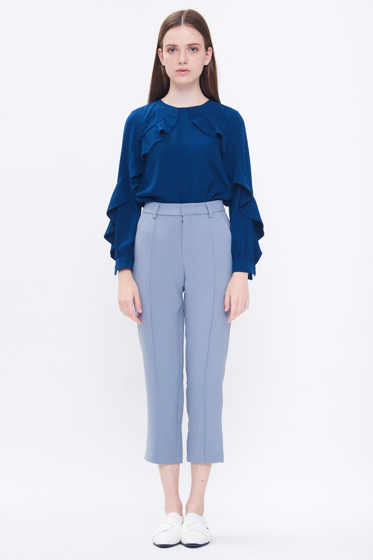 Tailored Cigarette Trousers In Blue