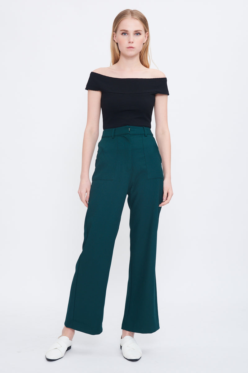 Bootcut Trousers In Forest Green
