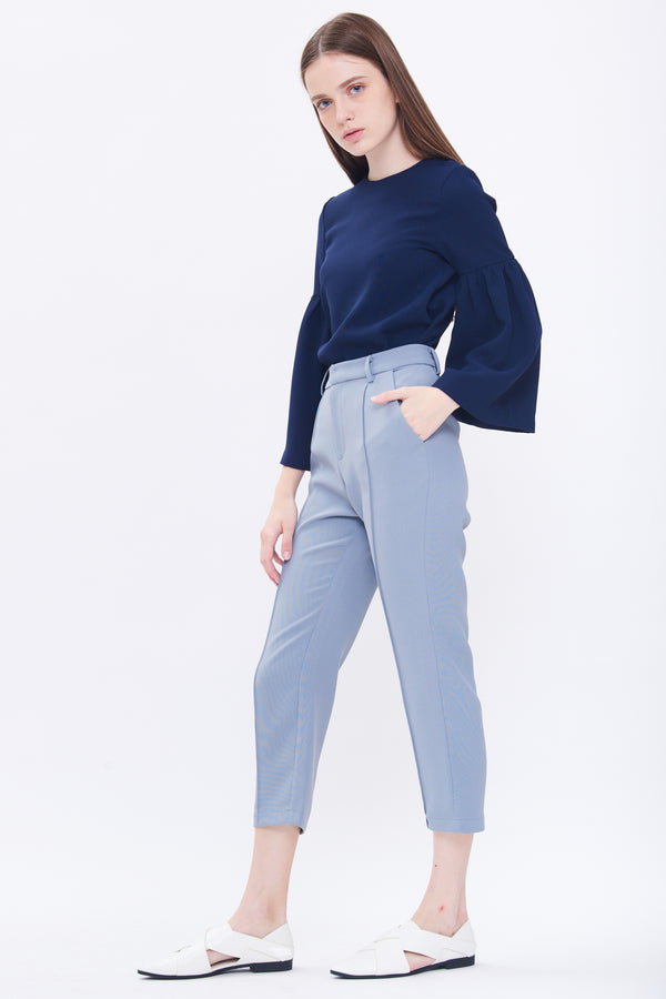 Round Neck Bell Sleeve Top In Navy