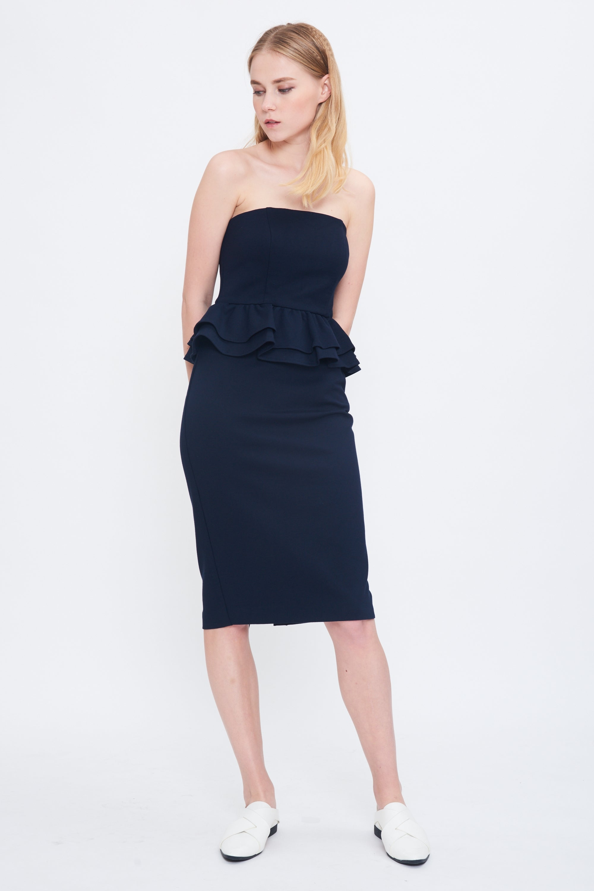 Peplum Tube Midi Dress In Navy