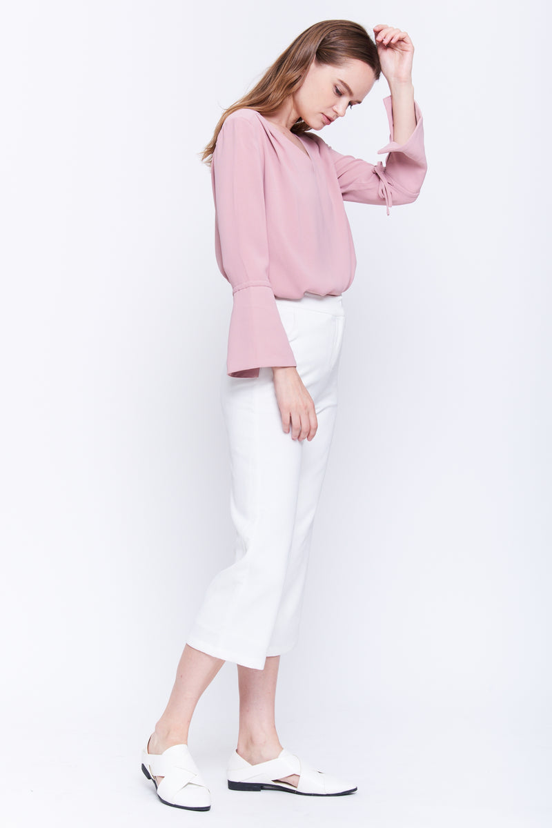 Tie Sleeve Top In Blush