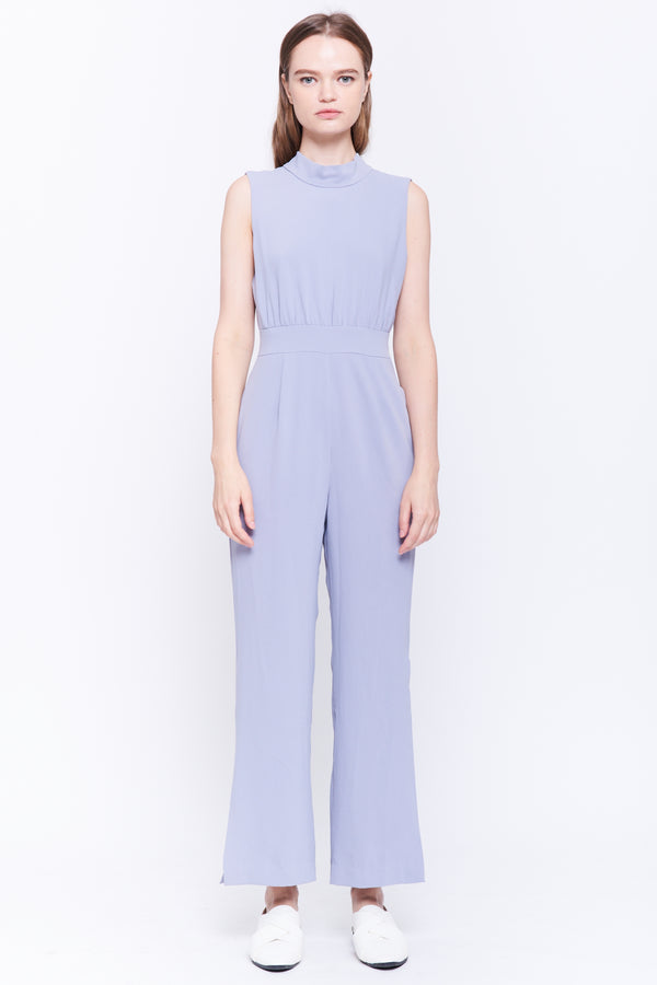 Wide Leg Tie Back Jumpsuit In Grey Blue