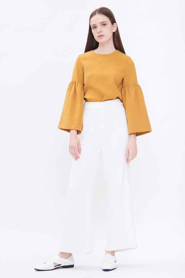 Round Neck Bell Sleeve Top In Mustard