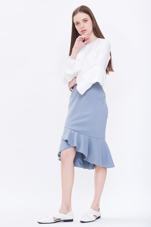 Ruffle Marmaid Skirt In Dusty Blue