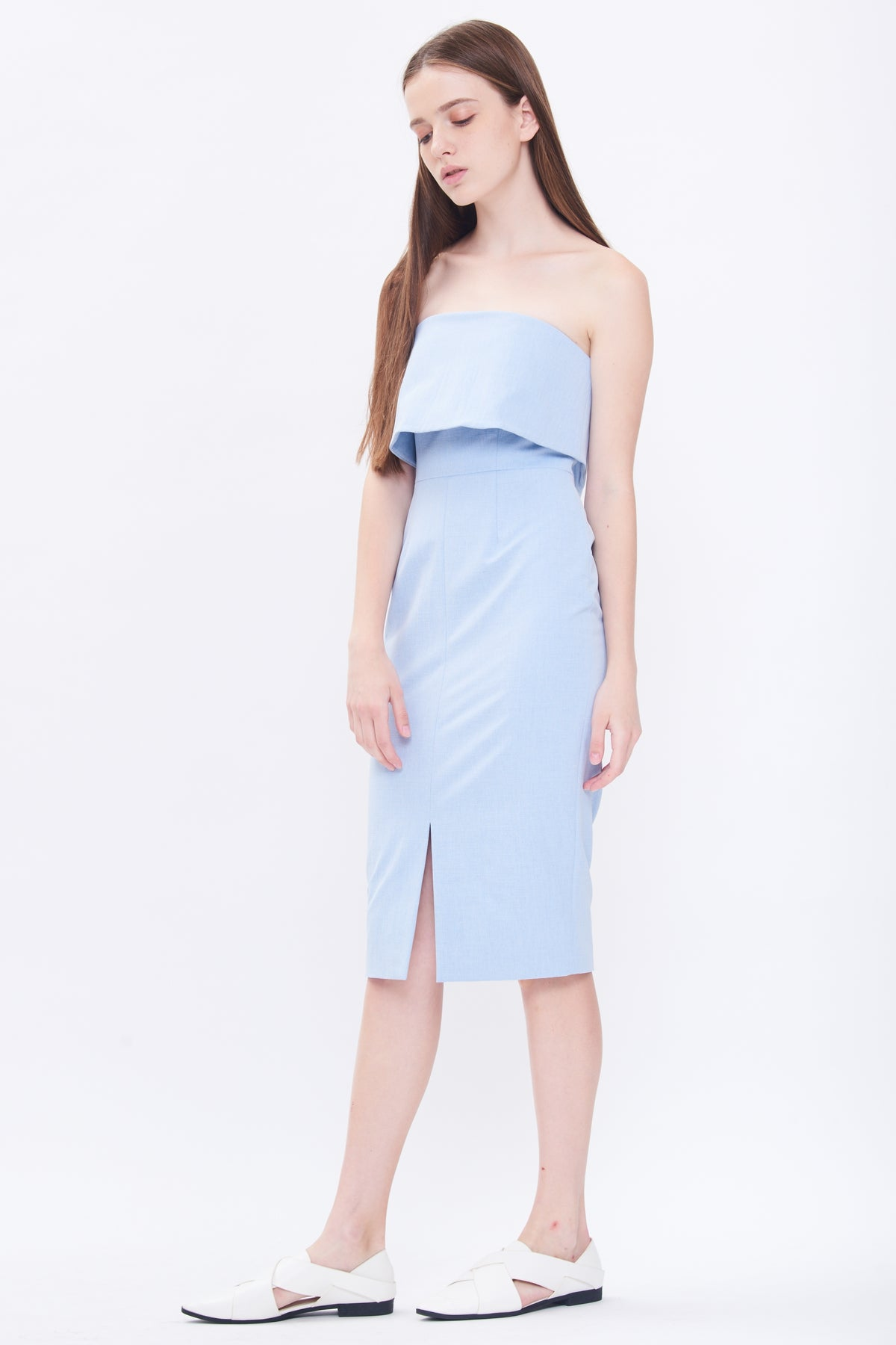 Tube Midi Dress In Sky Blue