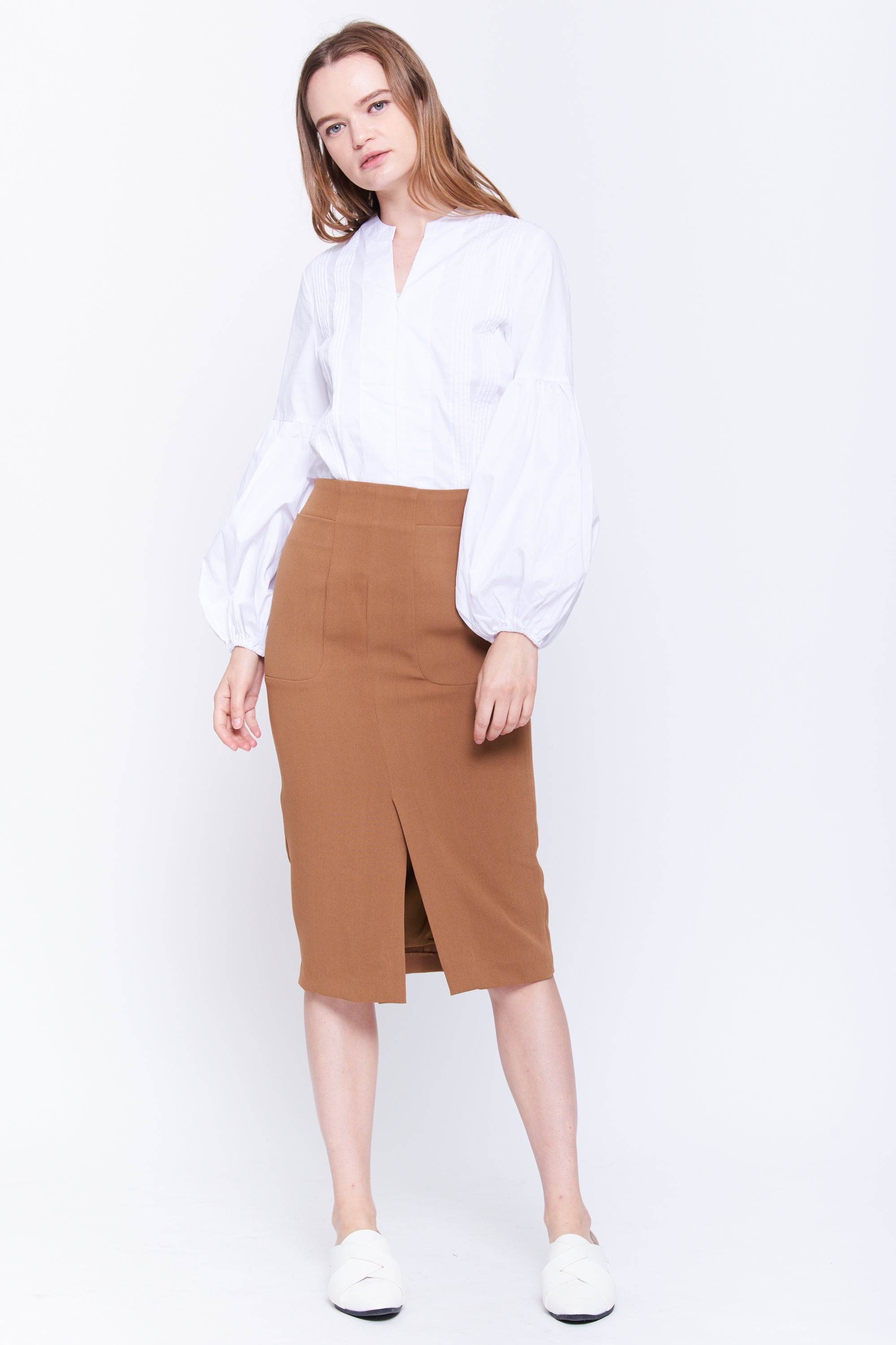 Pleat Front Cotton Blouse In White