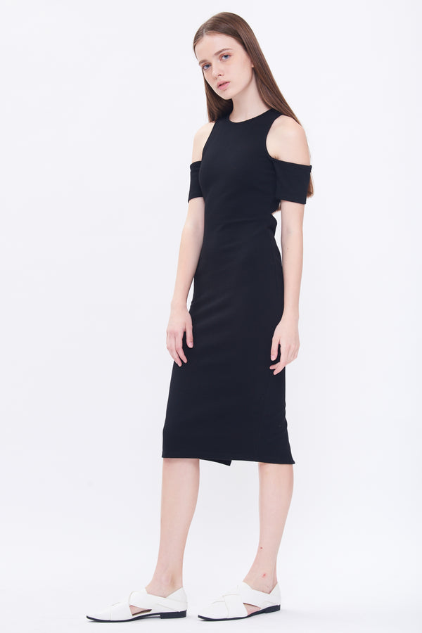 Cutout Cold Shoulder Dress In Black