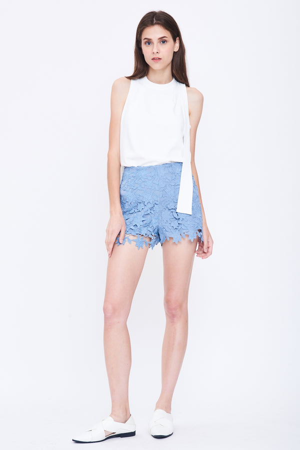 High Waist Lace Shorts In Blue