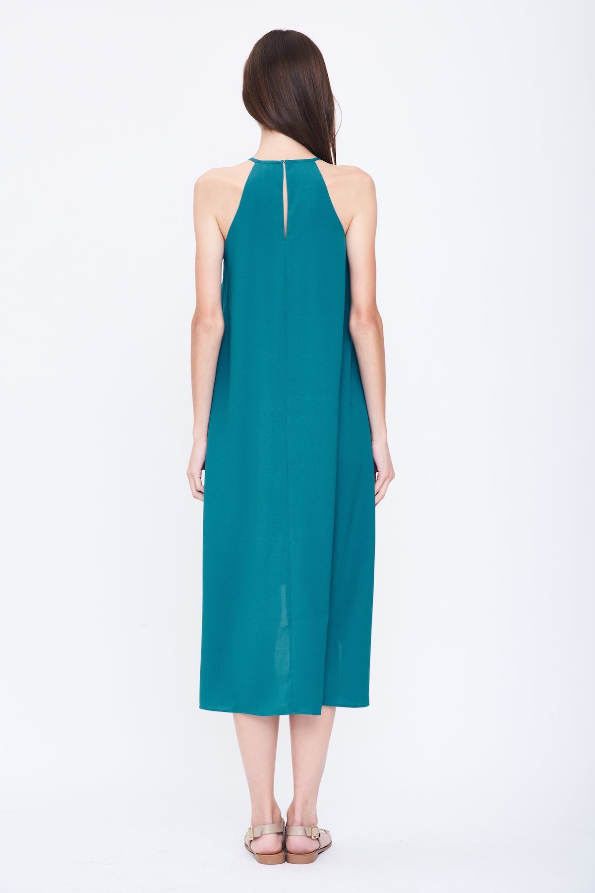 Pleated Halter Dress in Light Teal