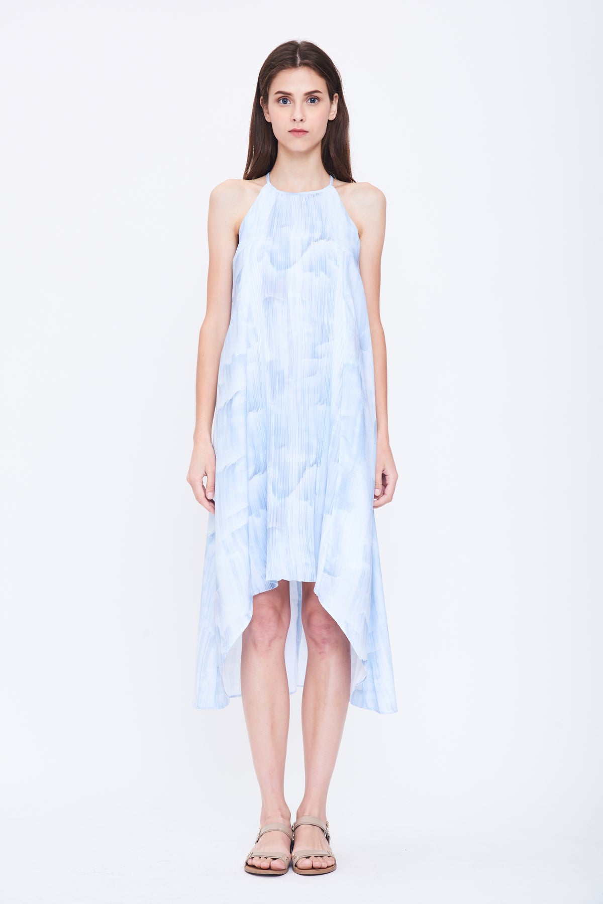 Pleated Halter Dress in Print