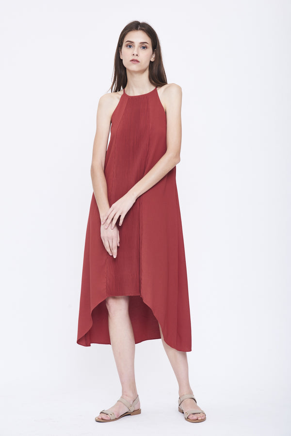 Pleated Halter Dress in Red