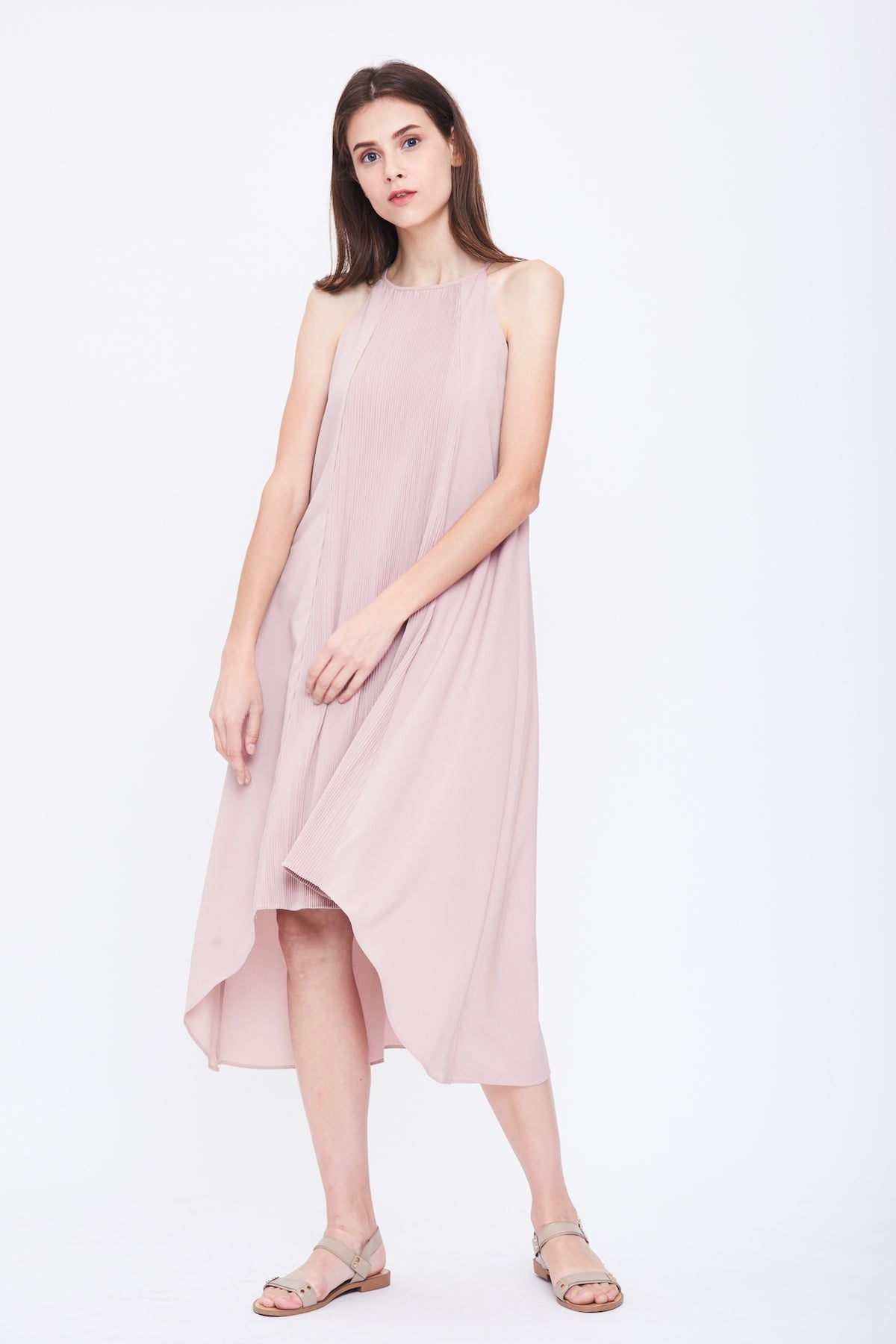 Pleated Halter Dress in Pink