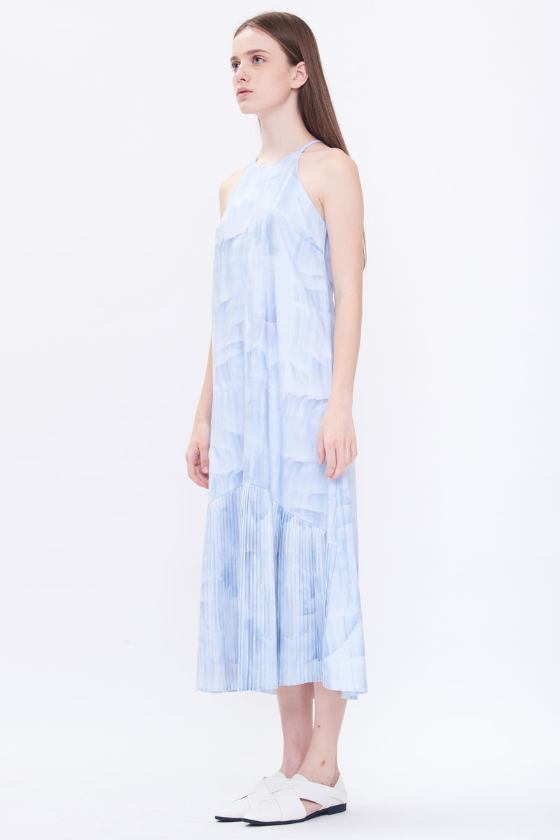 Pleated Maxi Dress in Print