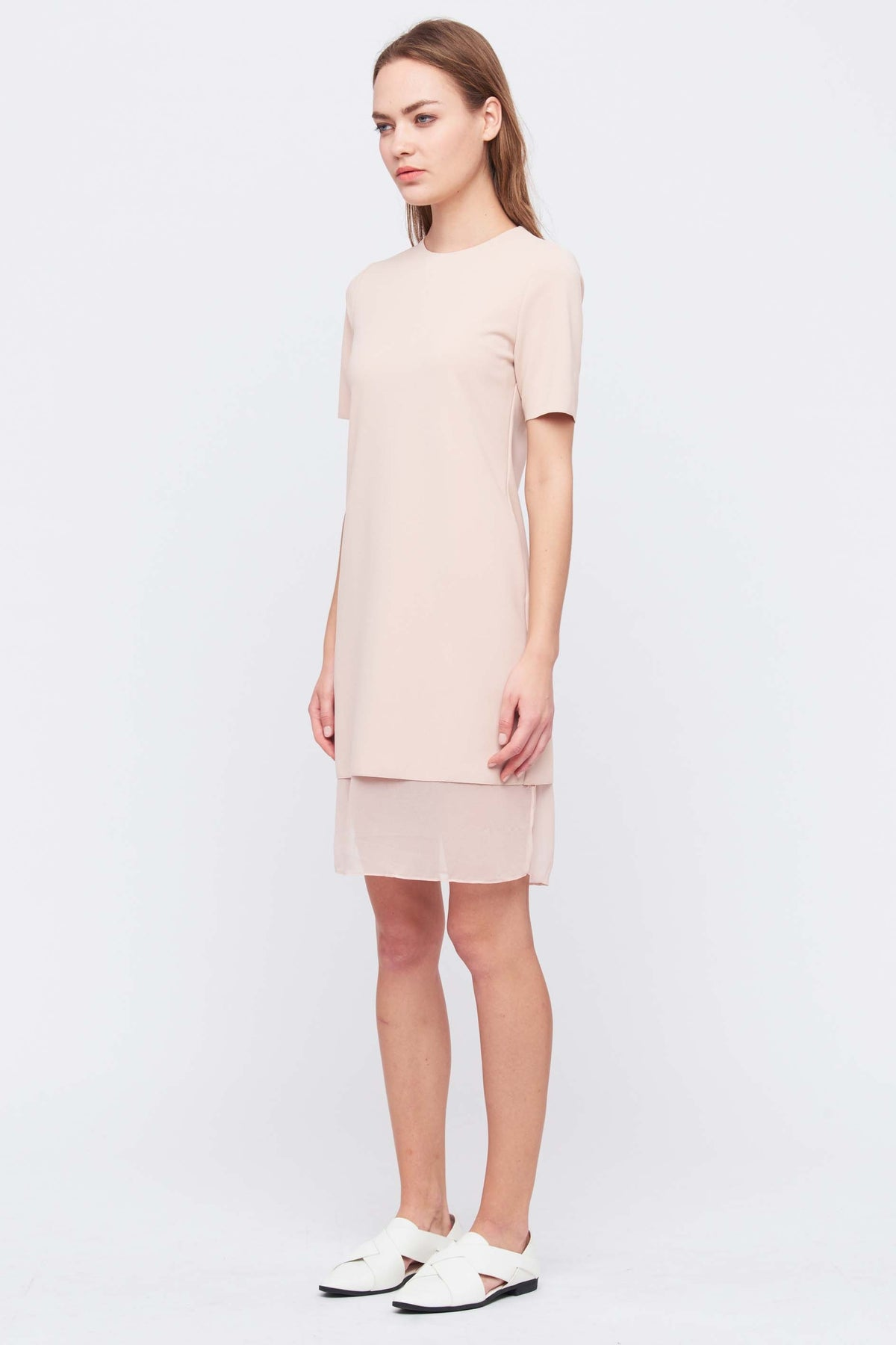 Layered Shift Dress In Nude Pink