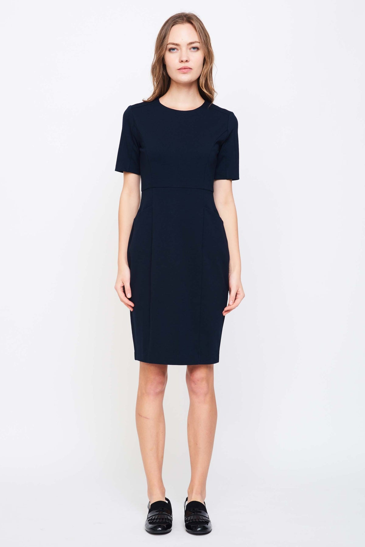 Tailored Dress With Pockets In Navy