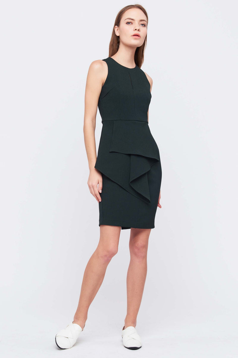 Front Peplum Keyhole Dress In Green