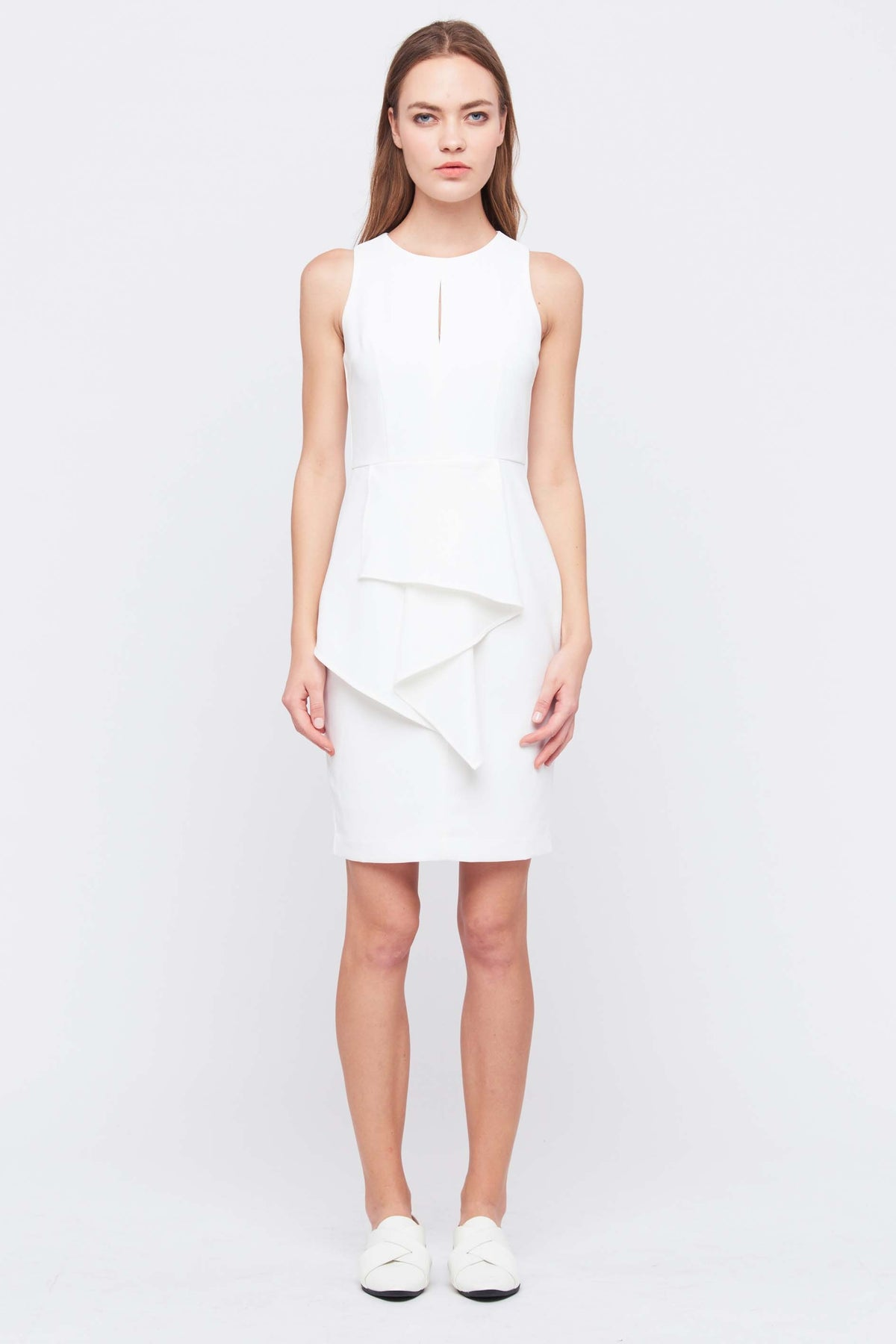 Front Peplum Keyhole Dress In White