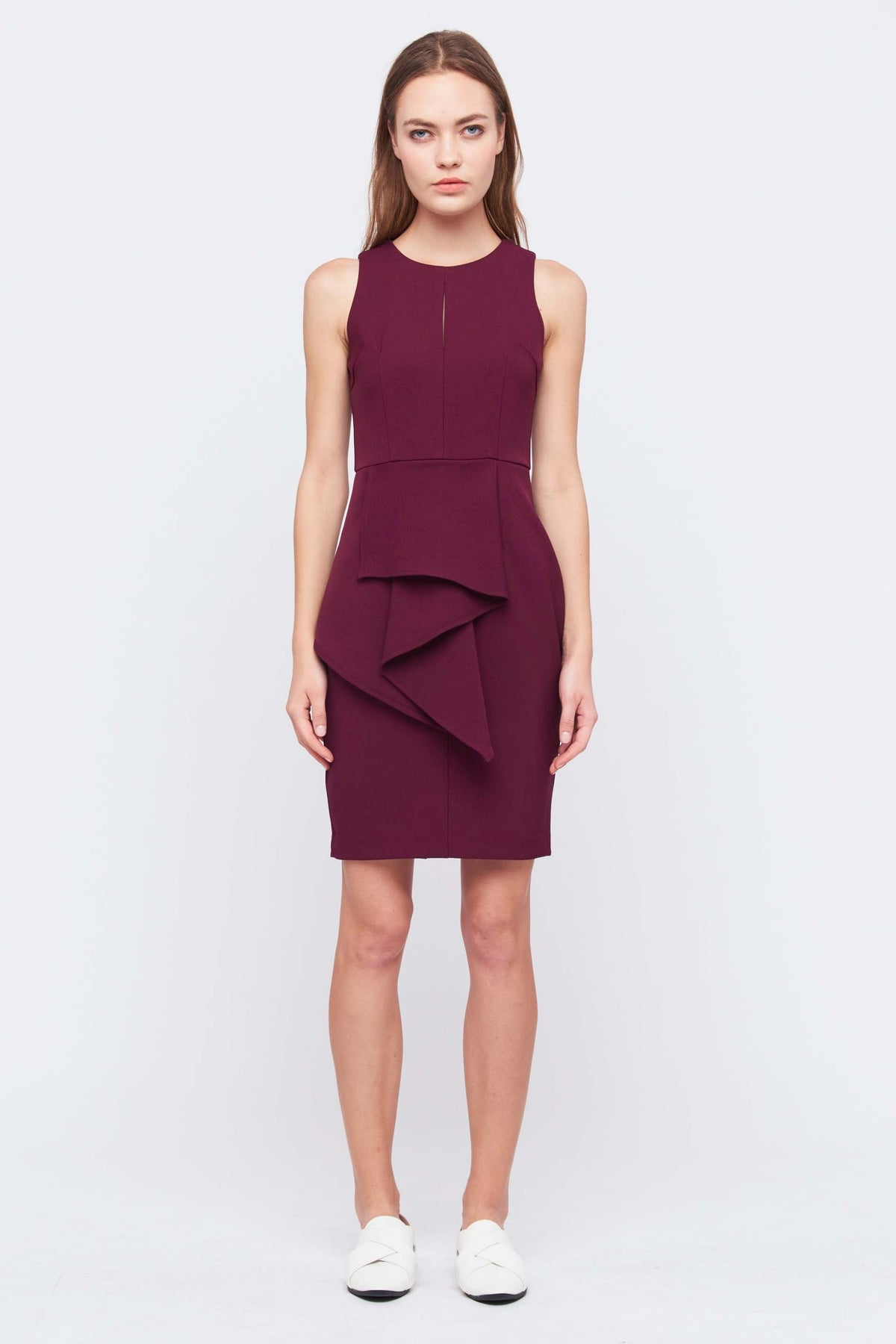 Front Peplum Keyhole Dress In Maroon