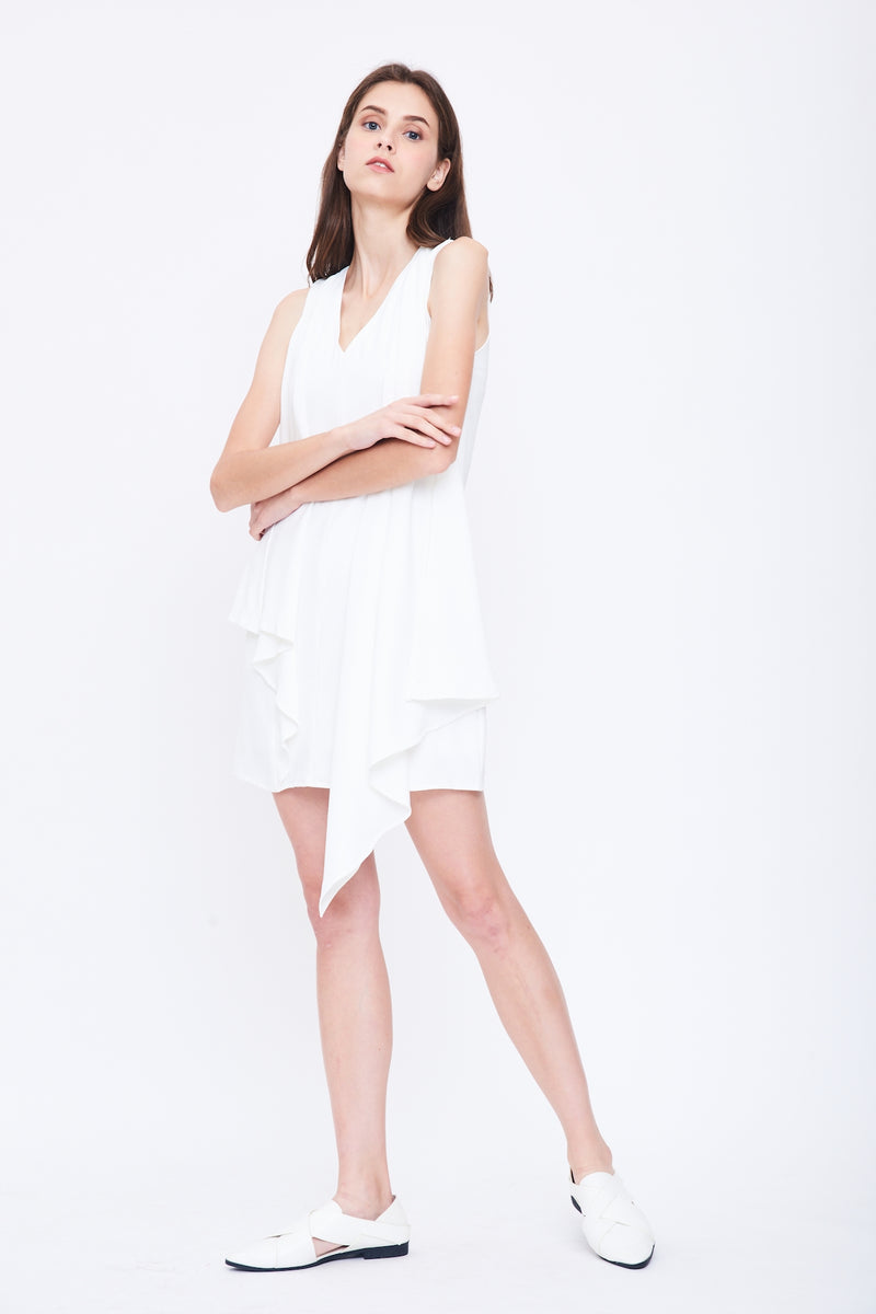 V Neck Dress with Front Drape in White