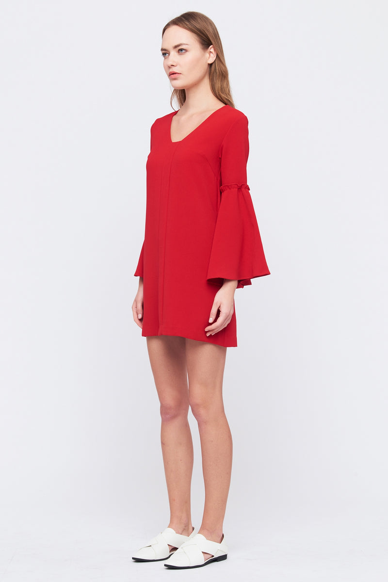 Flare Sleeve Shift Dress In Red
